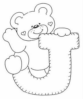 Abecederio de Osito corazon para colorear letra J ~ 4 Dibujo