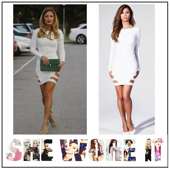 Sam Faiers, Nicole Scherzinger for Missguided, White, Long Sleeve, Bodycon, Bandage Style, Mini Dress, Cut Out Detail