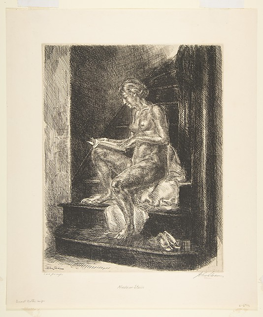 1930 Nude on Stairs etching