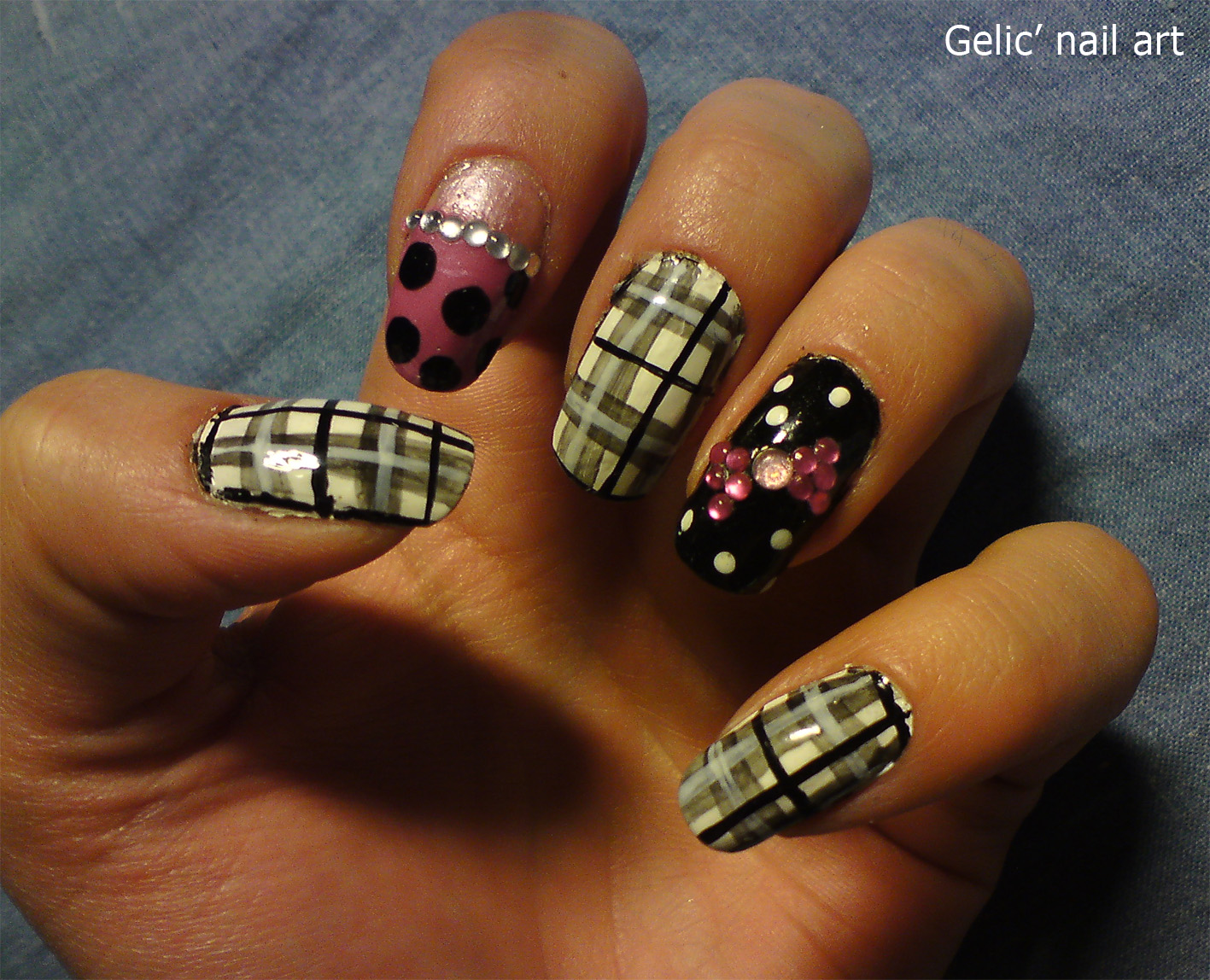 Gelic nail art june 2012 checked nail art with rhinestone bows prinsesfo Image collections