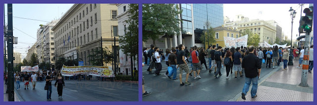 We saw many students marching in protest in front of the university.