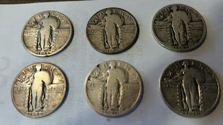 NICE SHORT TYPE-SET OF RECESSED DATE-1925,26,27,28,29,30- STANDING LIBERTY $.25!
