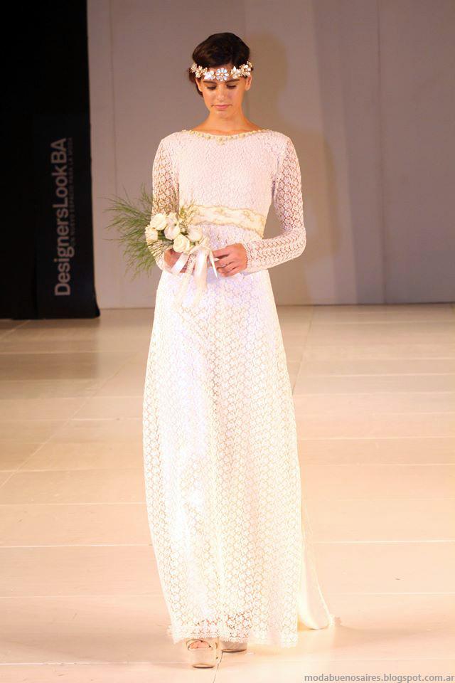 Almendra Peralta Ramos invierno 2014 vestidos de novia sencillos y delicados.