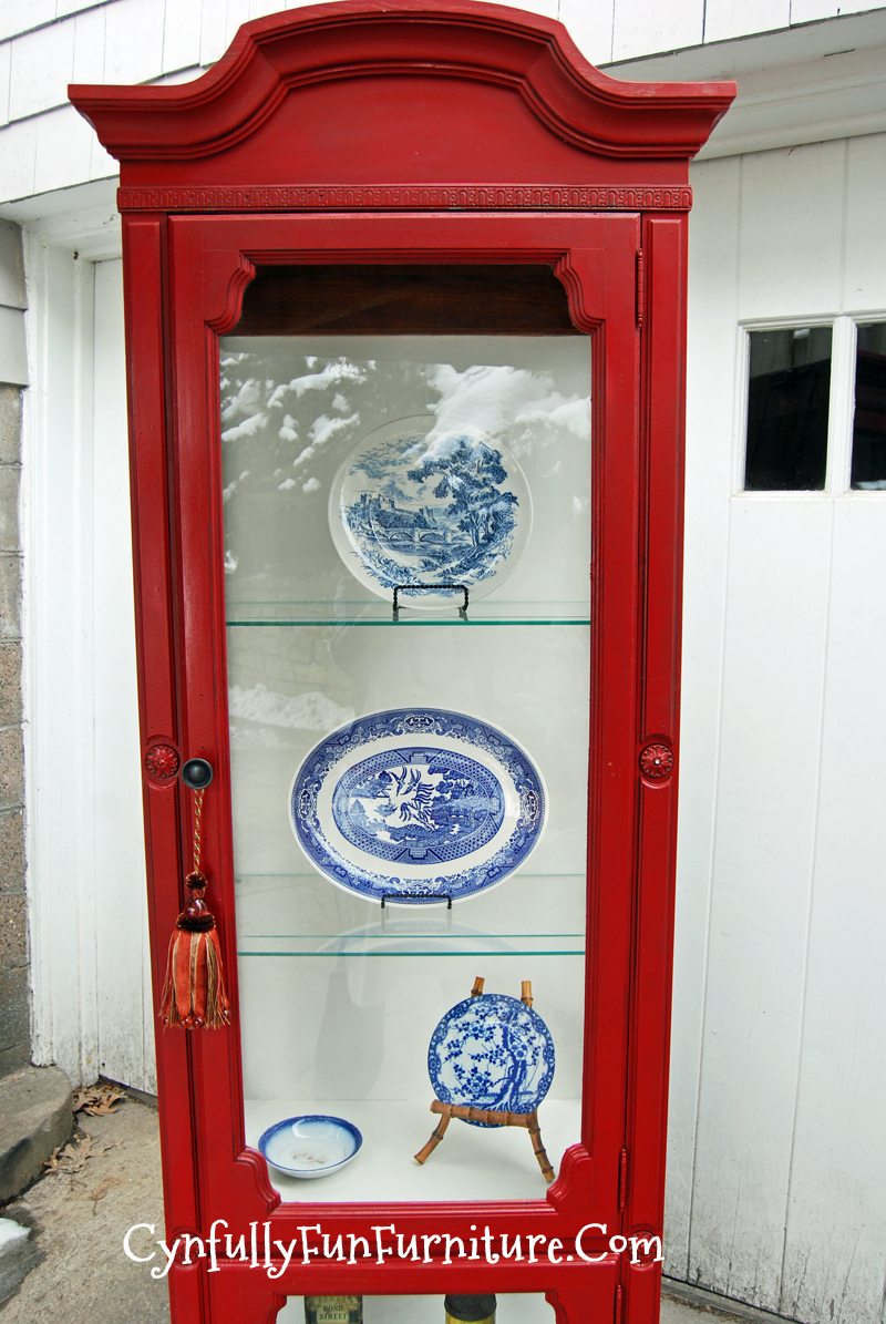 Beautiful Colonial Red Curio Cabinet