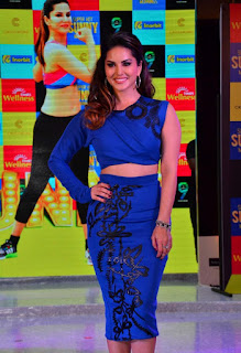 Sunny Leone Fabulous in Tight Blue Top and Skirt at her Fitness Workout DVD Launch