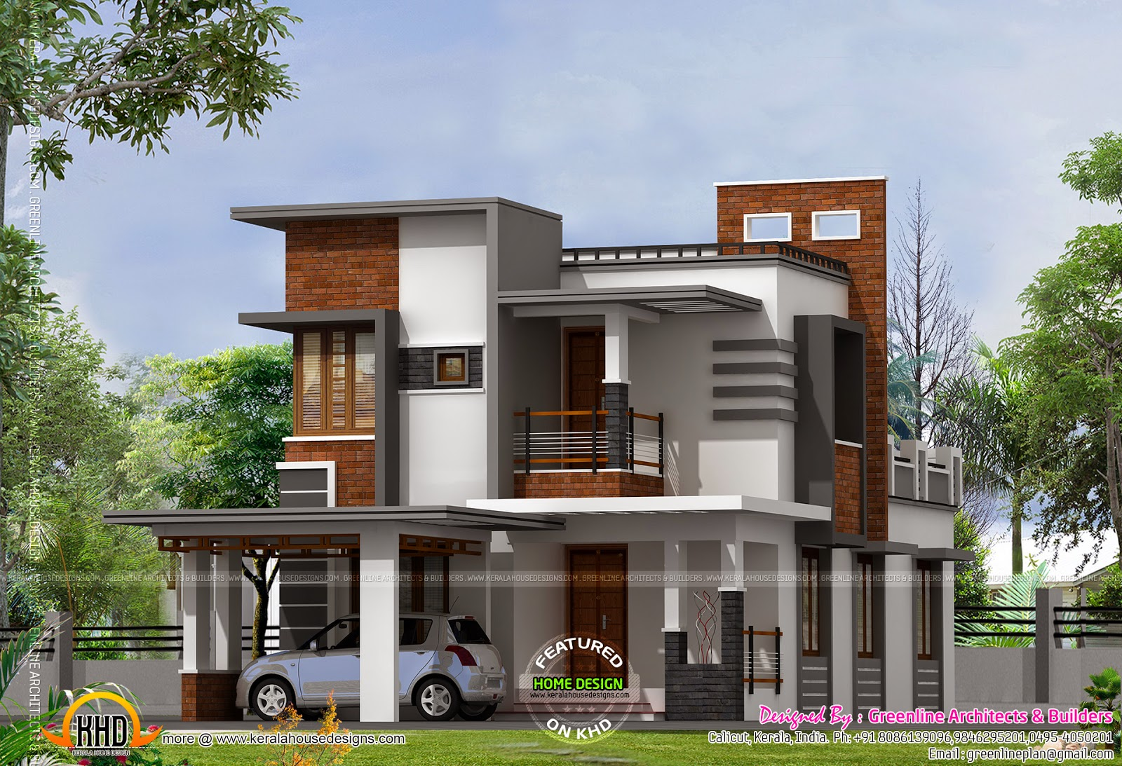 Low cost contemporary house kerala home design and floor for Contemporary homes images