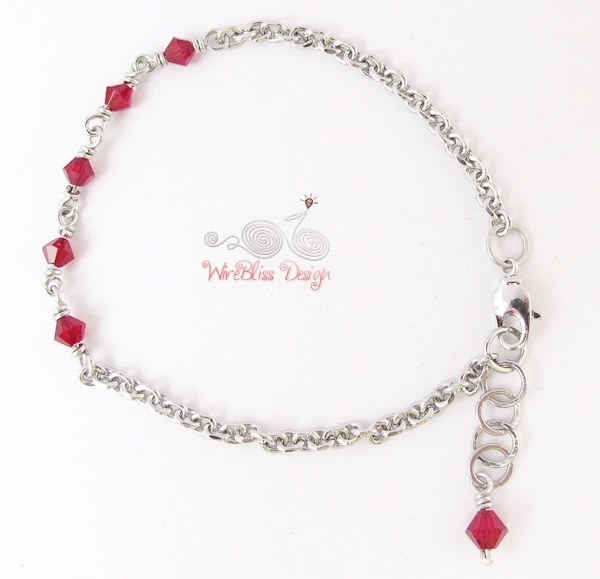 Minlet in 4m Ruby Swarovski crystal at WireBliss