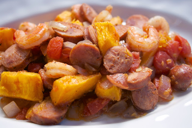 Cajun Pumpkin Stew: Andouille Sausage & Shrimp: Simple Living & Eating