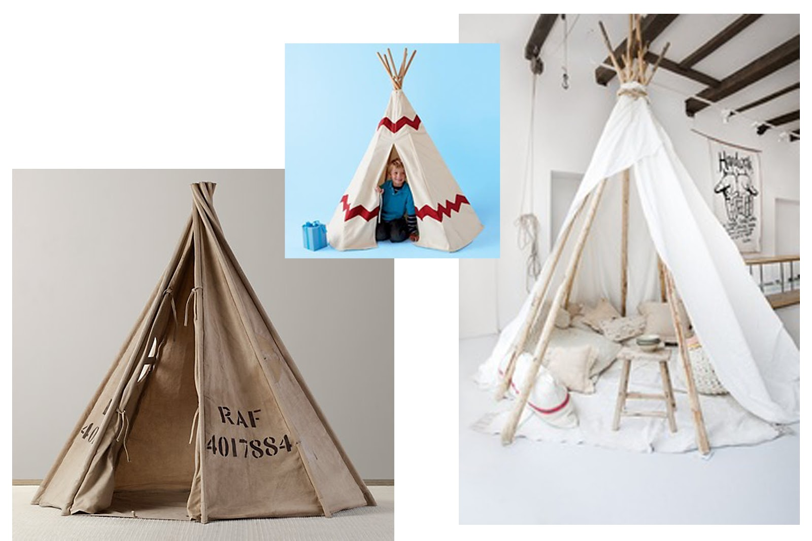 recycled canvas play tent land of nod teepee (no longer available) and white one via pinterest & the RA RA Home: Trees + Tents