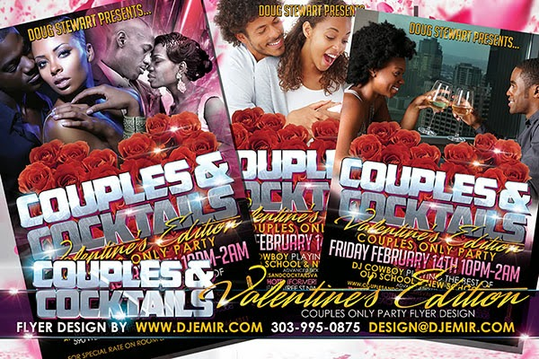 Couples and Cocktails Grown And Sexy Valentine's Day Party Flyer Design