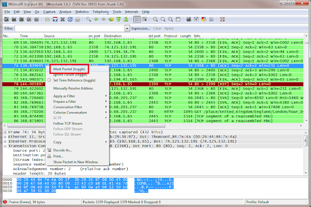 Marking packets in Wireshark