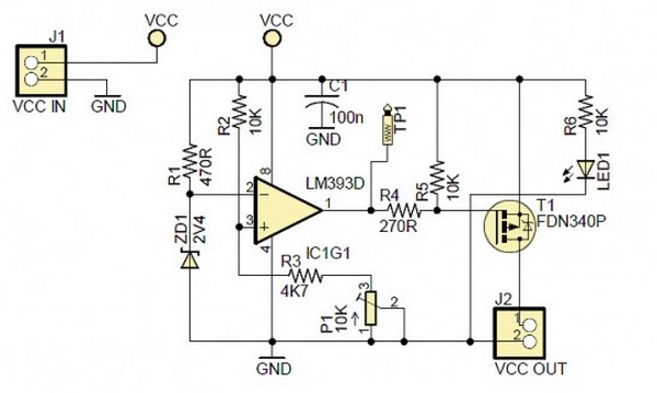 Circuit Diagram Simple Power Supply Monitoring Device for 5V VCC