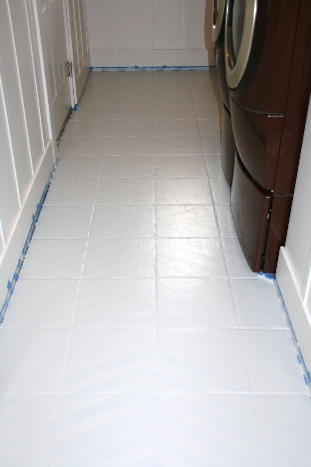 How to paint tile floors a tutorial love stitched for How to paint tiles bathroom