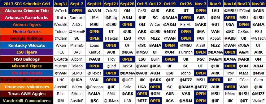 2013 SEC Football Schedule