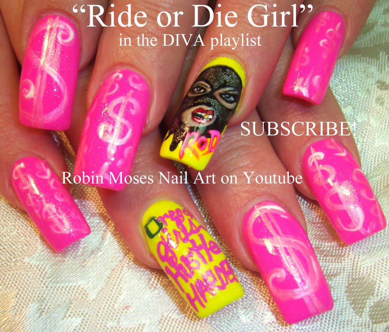 Nail Art By Robin Moses Ride Or Die Girl Nail Art Girl In Ski