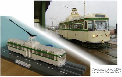 Comparación tranvía original y modelo de tranvía en Lego
