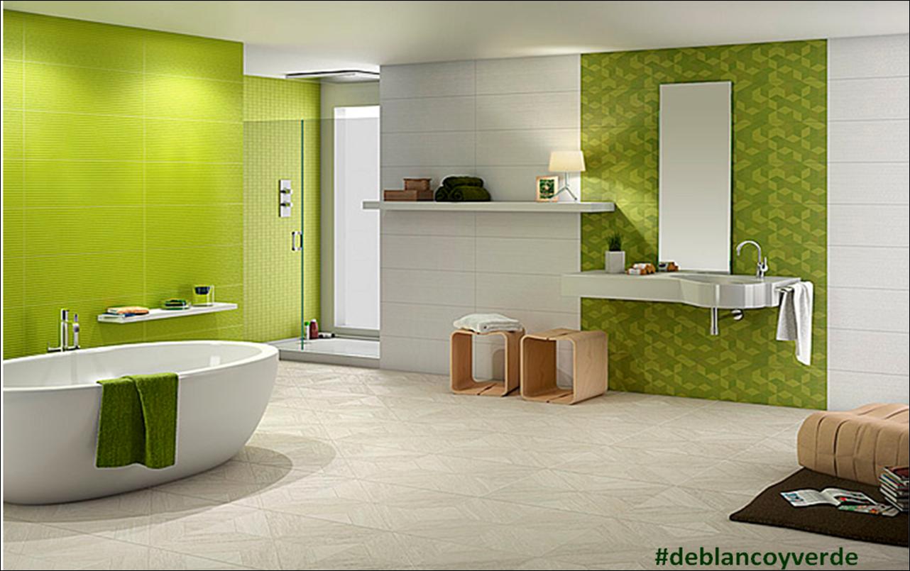 Baño Verde Con Blanco:pintura y madera: #deblancoyverde en Pintura y Madera