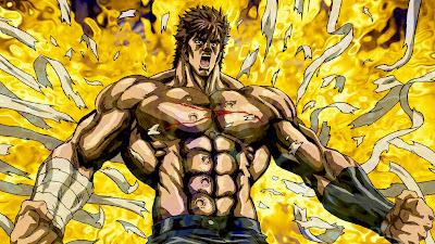 """Cette image est extraite de la célèbre série d'animation Hoku no Ken, Ken le survivant, elle-même inspiré par le manga éponyme au succès planétaire. L'histoire se déroule dans un futur relativement proche sur une terre ravagée par la guerre nucléaire qui a eu pour conséquence l'évaporation de la plupart des océans et la destruction d'une grande partie de la végétation. Dans cet univers post-apocalyptique, les survivants sont soit d'humbles villageois essayant de survivre, soit des bandits vicieux regroupés en gangs qui s'adonnent aux pillages et à la persécution de ces villageois.  Cependant, un artiste martial nommé Kenshiro (Ken), un homme reconnaissable aux sept cicatrices qu'il porte sur le torse, est choisi pour devenir le successeur du légendaire art assassin le Hokuto Shinken (北斗神拳, l'art divin de l'Étoile du nord). Au début de l'aventure, Kenshiro ne cherche pas réellement à aider les villageois, mais au fur et à mesure que son étoile le guide, il se révèle comme étant le sauveur tant attendu par une population au bord du désespoir.  Accompagné dans son périple par deux jeunes enfants nommés Bart et Lynn, Ken affrontera un grand nombre de gangs, allant même jusqu'à affronter ses frères adoptifs, eux aussi disciples de l'art du Hokuto Shinken. Ken se mesurera aussi à certains maitres de l'école Nanto Seiken (南斗聖拳, Le poing sacré de l'étoile du Sud). L'image represent Ken en train de faire littéralement exploser ses vetements par la contraction de ses muscles. On voit ainsi apparaitre ses célèbres torse et abdomen aux sept cicatrices. Il semble très en colère et il est enveloppé d'une auréole de feu toute métaphorique symbolisant non seulement cette colère mais aussi sa puissance lorsqu'il est dans cet état. Cette image illustre le poeme """"Insoumis"""" du Marginal Magnifique"""" dans lequel le celebre poete exprime son refus de se soumettre aux regles de la societe qui lui sont imposees, estimant etre assez intelligent pour avoir son propre systeme de valeur et vivre"""