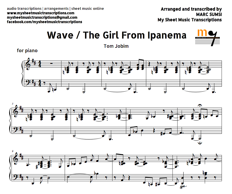 Wave / A Girl From Ipanema (Tom Jobim) Sheet Music And