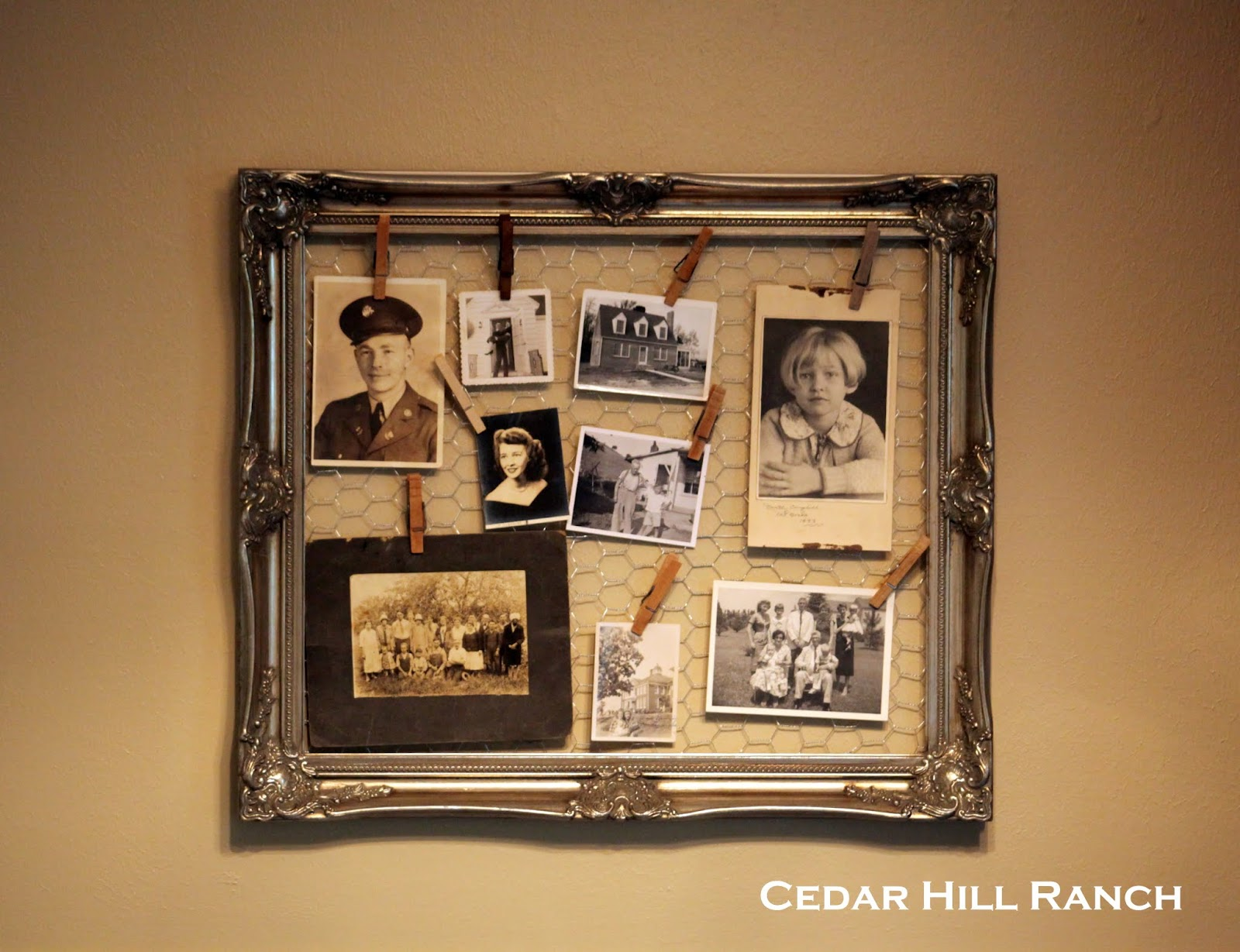 Chicken wire and Old Family Photos - Cedar Hill Farmhouse
