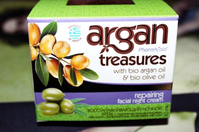 Pharmaid Argan treasures, Repairing facial night cream. Pharmaid Argan Treasures, Nocna krema za regeneraciju koze. Pharmaid Argan Treasures products. Greek beauty products.