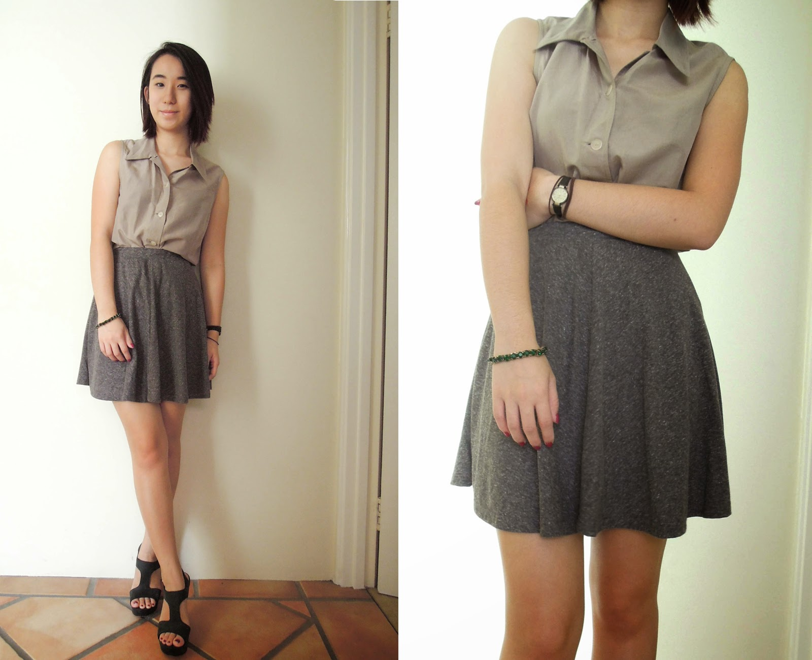 skirt grey topshop khaki shirt thrifted mums heels