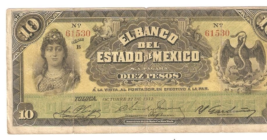 Mexican Banknotes 10 Pesos El Banco Del Estado De Mexico