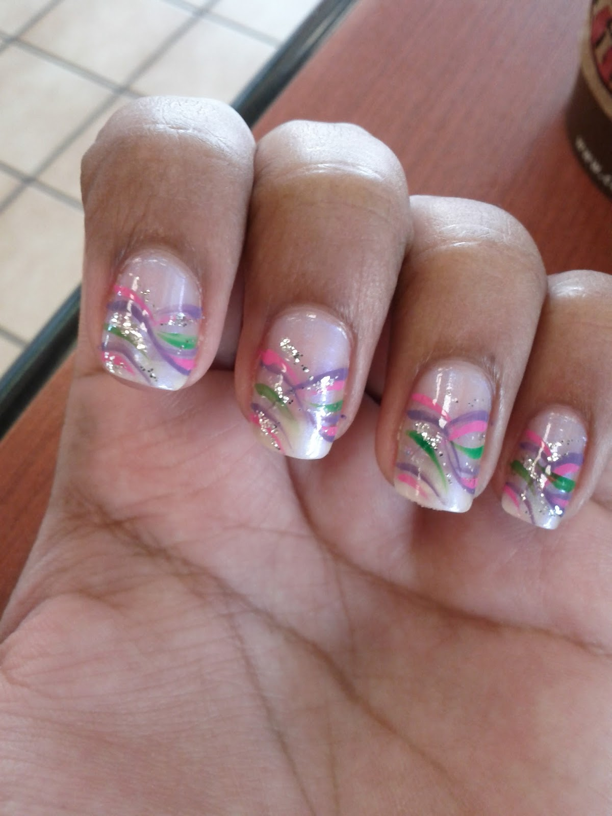 Nail Designsart Pink Purple And Green Nail Design