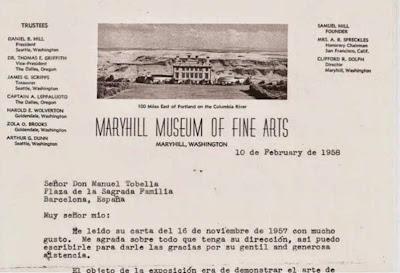 Carta del Maryhill Museum a Manuel Tobella