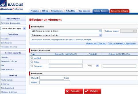 Ecran des services en ligne Axa Banque