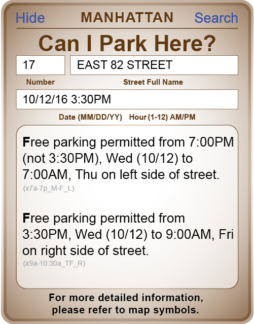 "Ask the ""Can I Park Here"" query box."