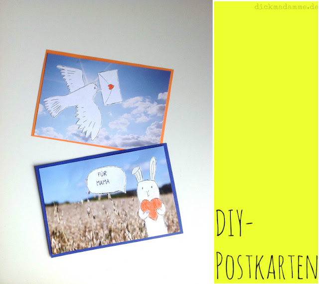 Postkarte basteln Anleitung dickmadamme