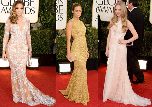 Jennifer Lopez (Zuhair Murad), Emily Blunt (Michael Kors) and Amanda Seyfried (Givenchy Haute Couture)
