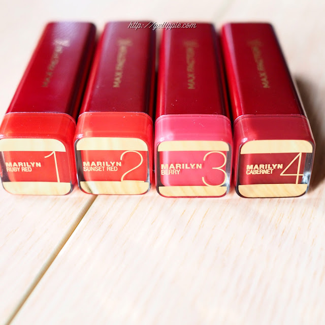 Four red lipsticks from the Max Factor Marilyn Monroe Collection