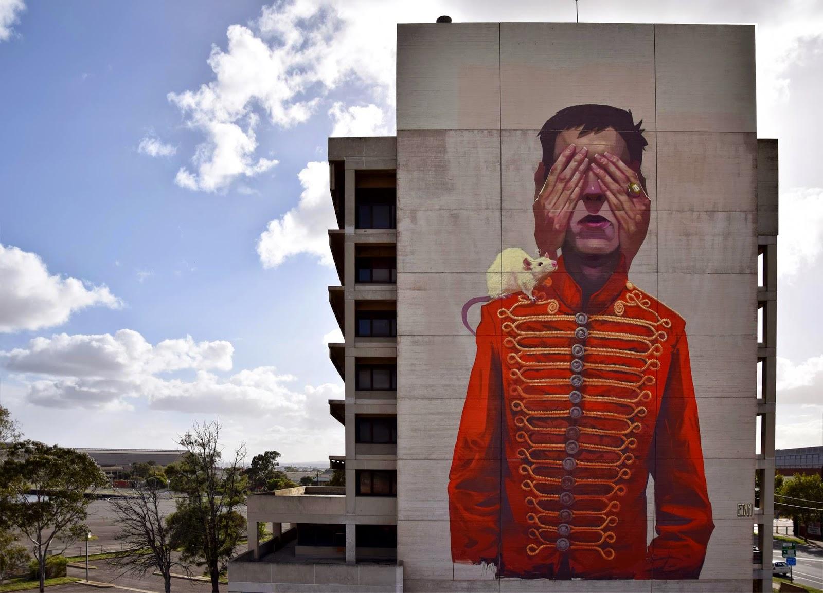 Etam cru creates a new mural for wonderwalls in port for Australian mural artists