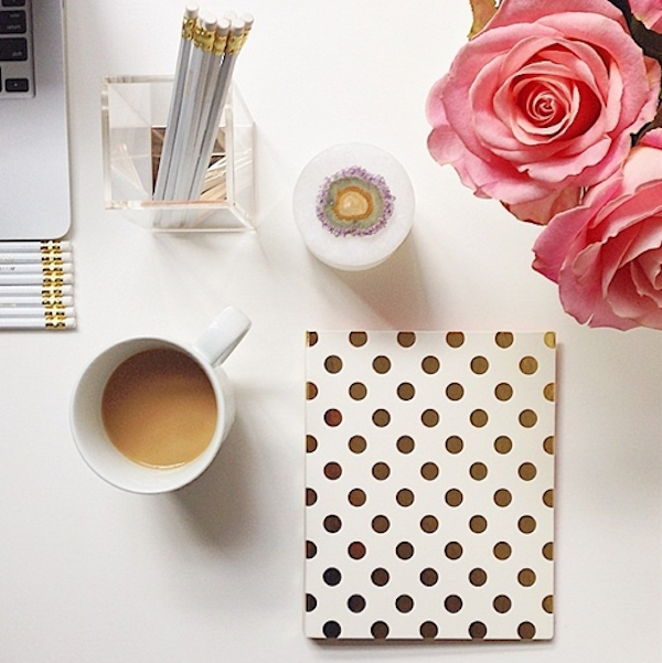 Kate Spade Gold Desk Accessories Polka Dot Notebook