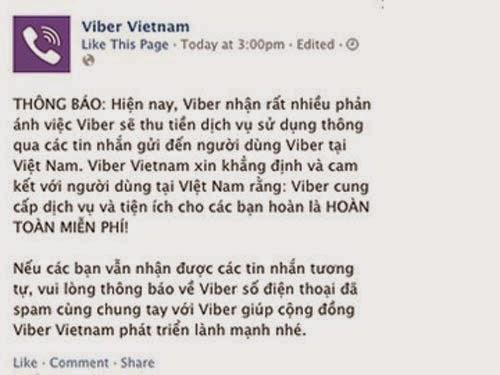 Viber khẳng định không thu phí