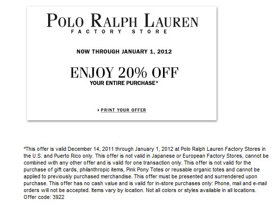 Ralph lauren outlet discount coupon