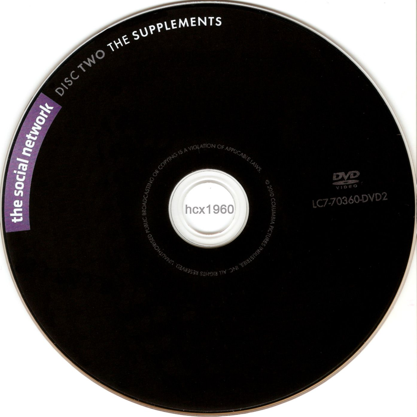 Label DVD The Social Network Disc Two The Supplements