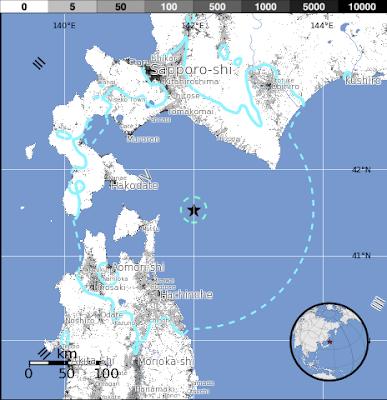 Epicentro sismo 5,9 grados en Japón, 8 de Junio 2015