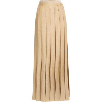 saia longa plissada dourada