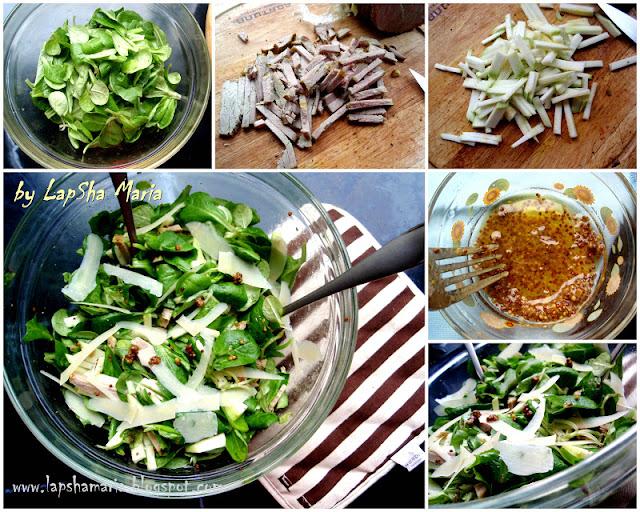Нежный суп-пюре с цветной капустой, кабачком и корнем сельдерея и Салат со свининой, кабачком и горчичной заправкой