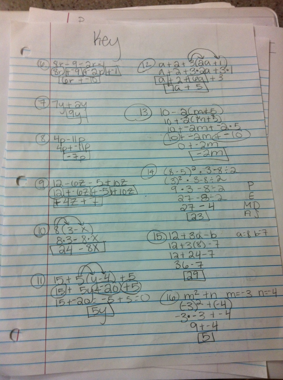 Mrs. Bates\' Math Bits : Study Guide Problems and Answers!