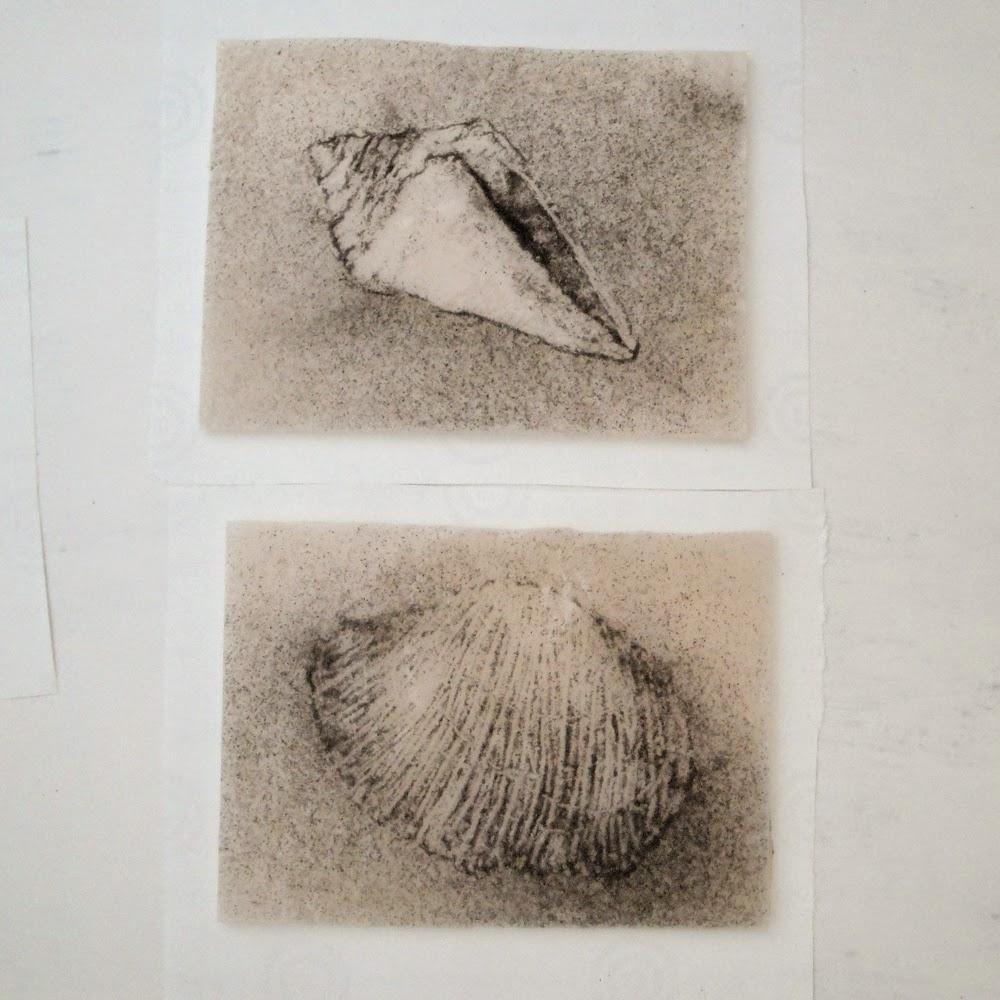 glass powder bullseye sgraffito fused frit painting seashell shell ocean art flutterbybutterfly flutterbyfoto day 18