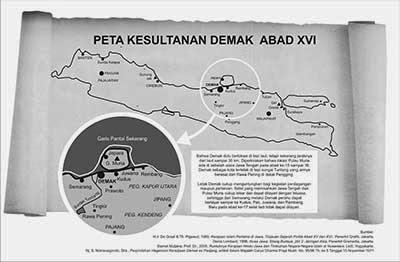 Peta Keraton Demak dan Pulau Muria
