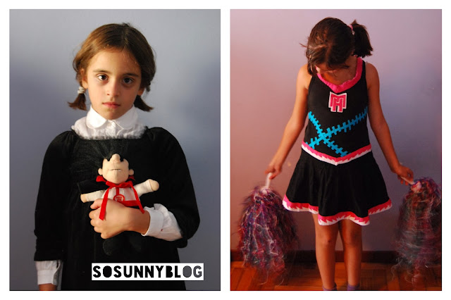 Monster high cheerleader and Wednesday Adams costume