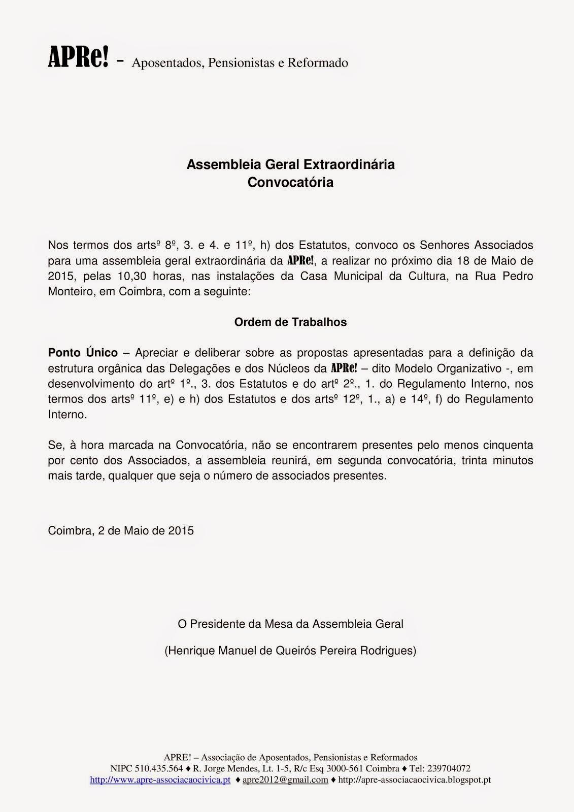 Convocatória para Assembleia Geral Ordinária da APRe!, 18 de Maio 2015