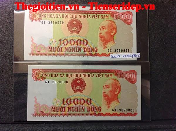 tiền 10k cotton đỏ seri đẹp