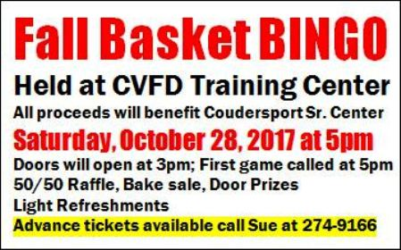 10-28 Basket Bingo CVFD Training Center