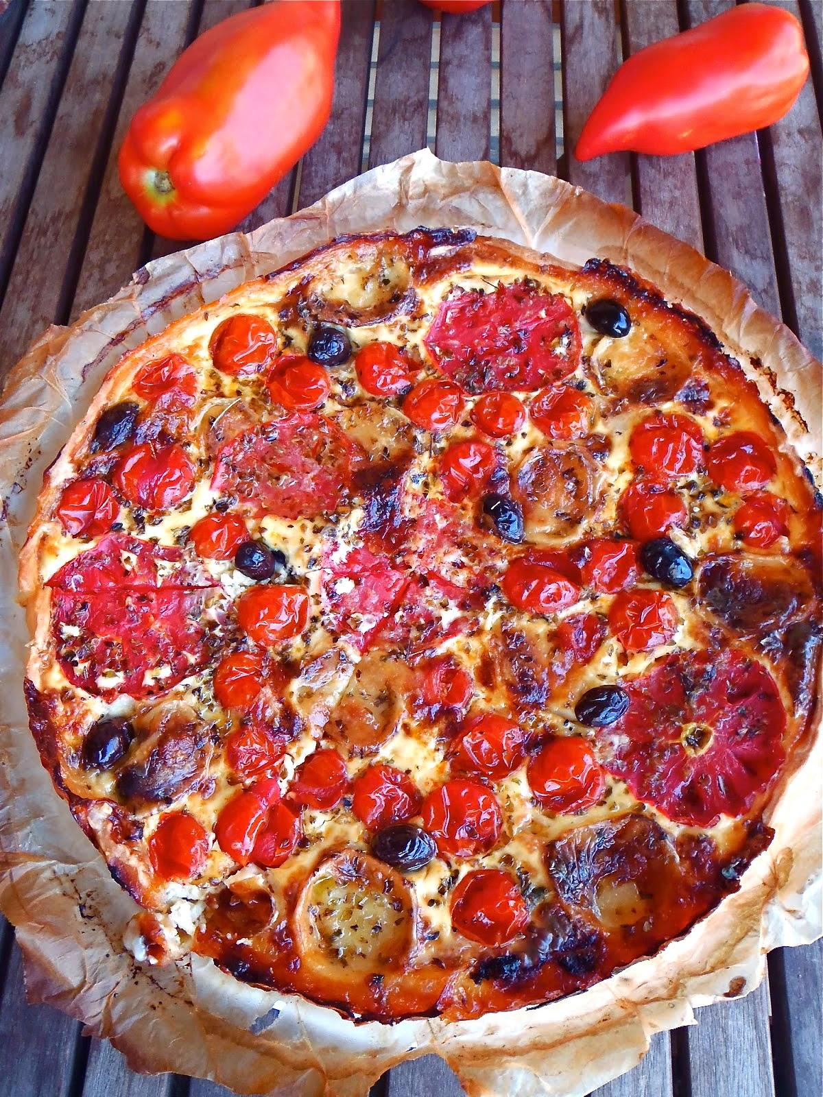 Quiche de tomates y queso de cabra